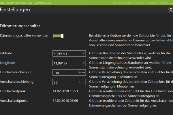 Camping-Strom Manager: Dämmerungsschalter (Astro-Switch)